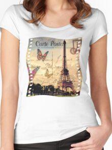 Vintage Paris-Carte Postale Women's Fitted Scoop T-Shirt