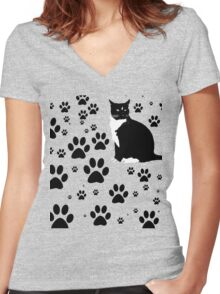 i love the purrryng CATS Women's Fitted V-Neck T-Shirt