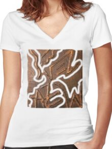 Prince and princess in vintage armour Women's Fitted V-Neck T-Shirt