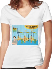 Survivor Winners Infographic Women's Fitted V-Neck T-Shirt