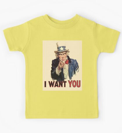 UNCLE SAM, Americana, America, I Want You! Uncle Sam Wants You. Recruitment Poster, USA, Kids Tee