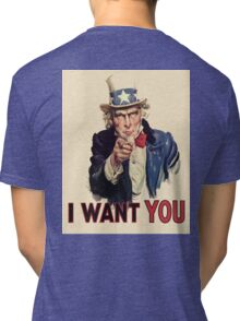 Americana, America, I Want You! Uncle Sam Wants You. Recruitment Poster, USA, Tri-blend T-Shirt