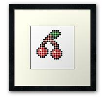 8 bit pixel cherries Framed Print