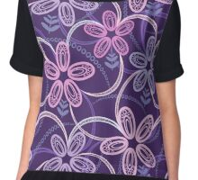 Night violet  floral pattern Chiffon Top