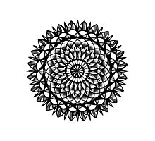 Traditional Floral Mandala Repetition Pen and Ink Design Photographic Print