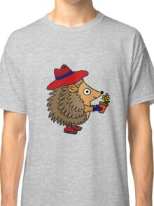 Cool Funny Hedgehog with Flower Classic T-Shirt