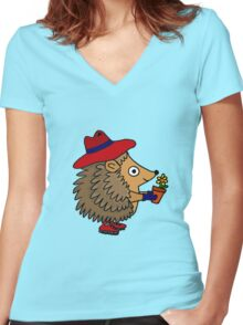 Cool Funny Hedgehog with Flower Women's Fitted V-Neck T-Shirt