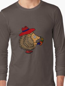 Cool Funny Hedgehog with Flower Long Sleeve T-Shirt