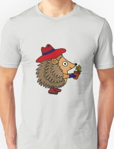 Cool Funny Hedgehog with Flower Unisex T-Shirt