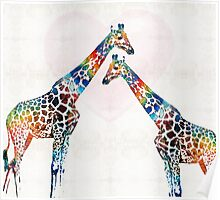 Colorful Giraffe Art - I've Got Your Back - By Sharon Cummings Poster