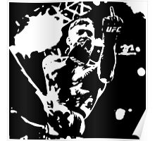 Conor McGregor flips the bird black/white Poster