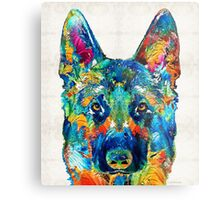 Colorful German Shepherd Dog Art By Sharon Cummings Metal Print