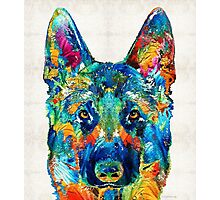Colorful German Shepherd Dog Art By Sharon Cummings Photographic Print