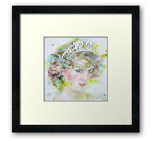 DIANA - PRINCESS of WALES - watercolor portrait.3 Framed Print