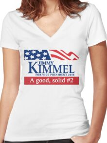Jimmy Kimmel A Good Solid #2 Women's Fitted V-Neck T-Shirt
