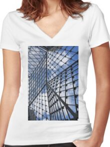 Geometric Sky - Fabulous Modern Architecture in London, UK - Vertical Women's Fitted V-Neck T-Shirt
