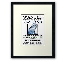 WANTED: The White Dragon, Rimefang - Critical Role Fan Design Framed Print
