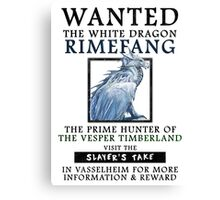 WANTED: The White Dragon, Rimefang - Critical Role Fan Design Canvas Print