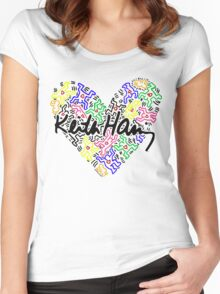 keith haring, keith, haring, big, love, graffiti, man, girl, family, wall, symbol. Women's Fitted Scoop T-Shirt