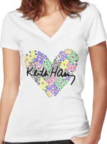 keith haring, keith, haring, big, love, graffiti, man, girl, family, wall, symbol. Women's Fitted V-Neck T-Shirt