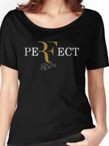 rf, roger federer, roger, federer, tennis, champion, wimbledon, tournament, sport, legend, australia, ball, signature, logo, symmbol. Women's Relaxed Fit T-Shirt
