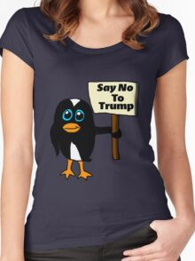 Say No to Trump Penguin  Women's Fitted Scoop T-Shirt