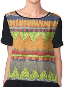 green leaves, gold and red flowers Chiffon Top