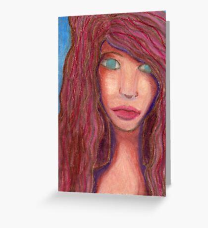 Oil Pastel Girl Portrait Greeting Card