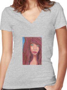 Oil Pastel Girl Portrait Women's Fitted V-Neck T-Shirt