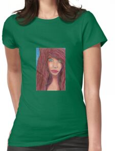 Oil Pastel Girl Portrait Womens Fitted T-Shirt