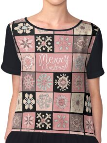 Merry Christmas in Pastel Pinks Chiffon Top