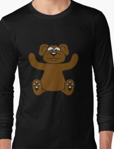 embracing funny sitting cute little teddy thick sweet cuddly comic cartoon Long Sleeve T-Shirt