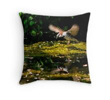 house sparrow flying Throw Pillow