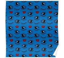 Eyes and lips  silhouette seamless pattern. Stylish trend design  Poster