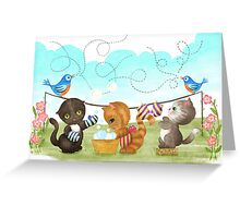 Three Kittens Washing Mittens Greeting Card