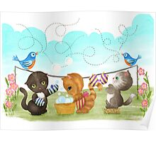 Three Kittens Washing Mittens Poster