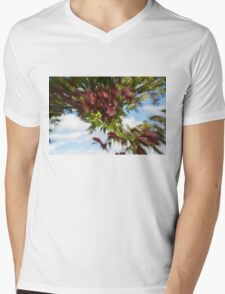 Abstract Impressions of Fall - Reds and Greens Mens V-Neck T-Shirt