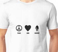 Peace Love Bigfoot Unisex T-Shirt