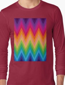Retro Zig Zag Chevron Pattern Long Sleeve T-Shirt