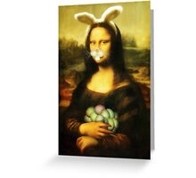 Mona Lisa Easter Bunny with Whiskers Greeting Card