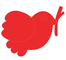 Simple red bird art Photographic Print