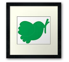 Simple green bird design Framed Print