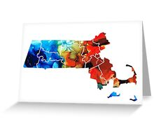 Massachusetts - Map Counties By Sharon Cummings Greeting Card