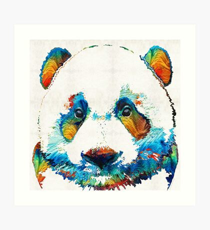 Colorful Panda Bear Art By Sharon Cummings Art Print