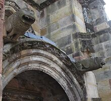 Rosslyn Chapel, Roslin, Scotland (gargoyles over door) by MagsWilliamson