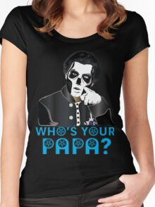 WHO'S YOUR PAPA? - papa 3 - blue letters Women's Fitted Scoop T-Shirt