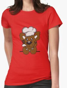 Eat text cook cooking delicious restaurant chef, kitchen grill master chef hat apron pancake teddy bear funny sweet Womens Fitted T-Shirt