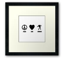 Peace Love Zombies Framed Print