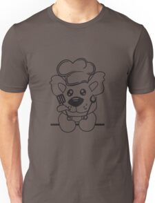 Eat text cook cooking delicious restaurant chef, kitchen grill master chef hat apron pancake teddy bear funny sweet Unisex T-Shirt