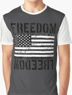 Freedom Black and White US Flag  Graphic T-Shirt